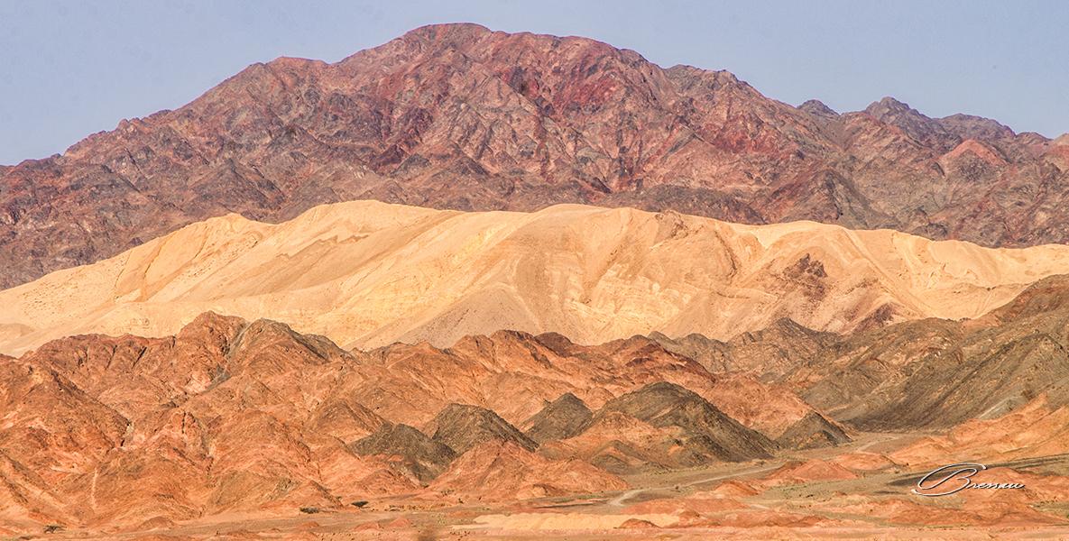 The desert of Wadi Arabah near the city of Petra in Jordan.