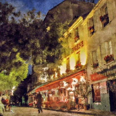 Montmartre, Paris, France. Watercolor effect with plenty of retouches.