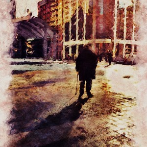 Solitude. Low resolution iPad image with plenty of contrast and watercolor effect.