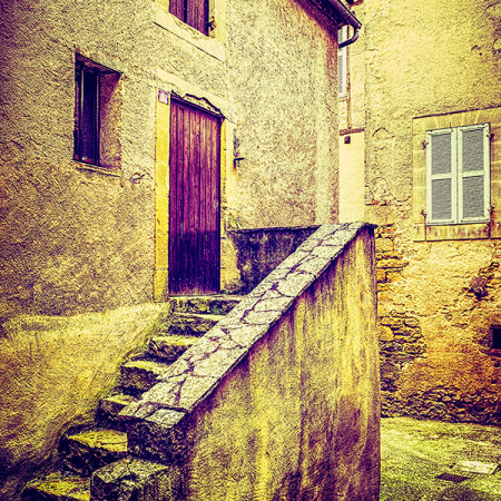 Street Scene in Belvès, France. Vintage look.