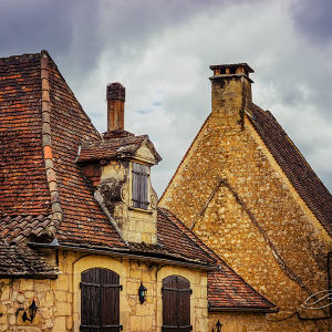Typical Houses in the Dordogne Region, Domme, France.