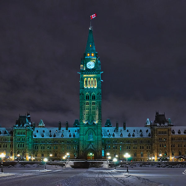The Parliament Building, Ottawa, Canada, in a very cold night.