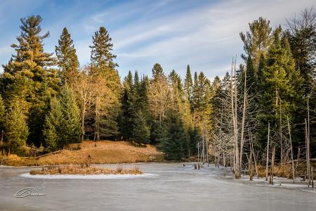 Frozen Lake, Quebec, Canada.